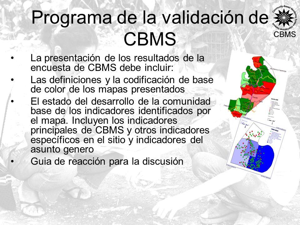 Programa de la validación de CBMS La presentación de los resultados de la encuesta de CBMS debe incluir: Las definiciones y la codificación de base de color de los mapas presentados El estado del desarrollo de la comunidad base de los indicadores identificados por el mapa.