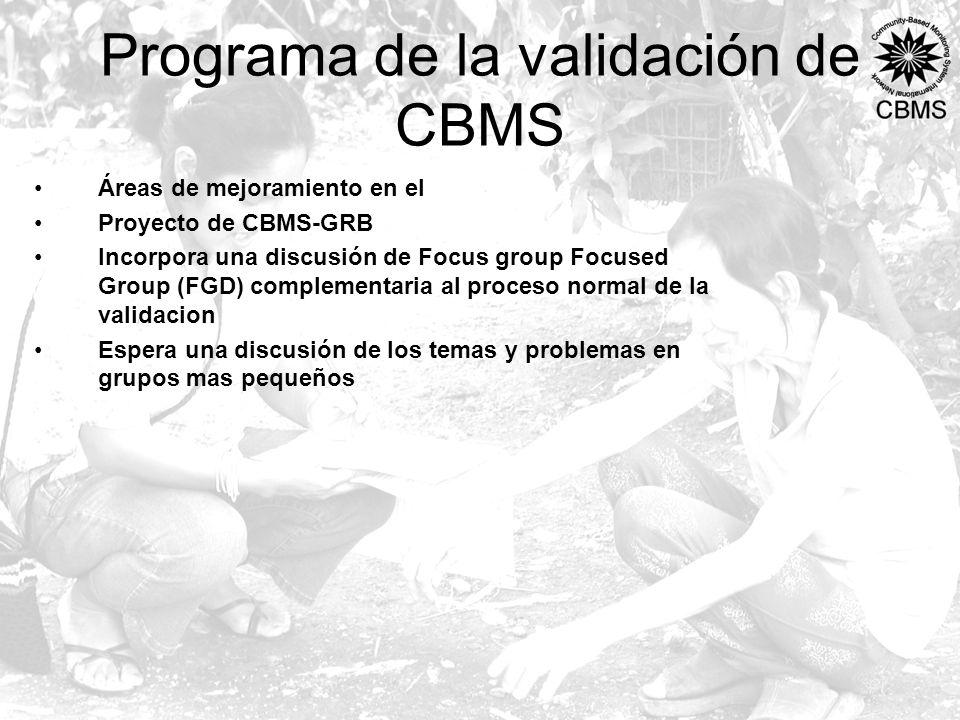 Programa de la validación de CBMS Áreas de mejoramiento en el Proyecto de CBMS-GRB Incorpora una discusión de Focus group Focused Group (FGD) complementaria al proceso normal de la validacion Espera una discusión de los temas y problemas en grupos mas pequeños