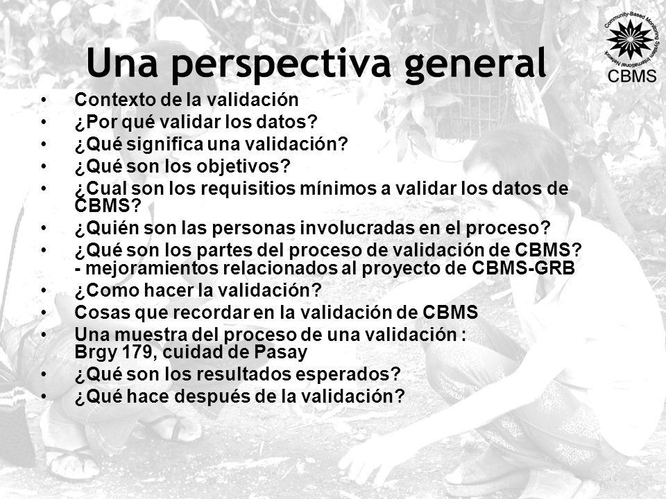 Una perspectiva general Contexto de la validación ¿Por qué validar los datos? ¿Qué significa una validación? ¿Qué son los objetivos? ¿Cual son los req