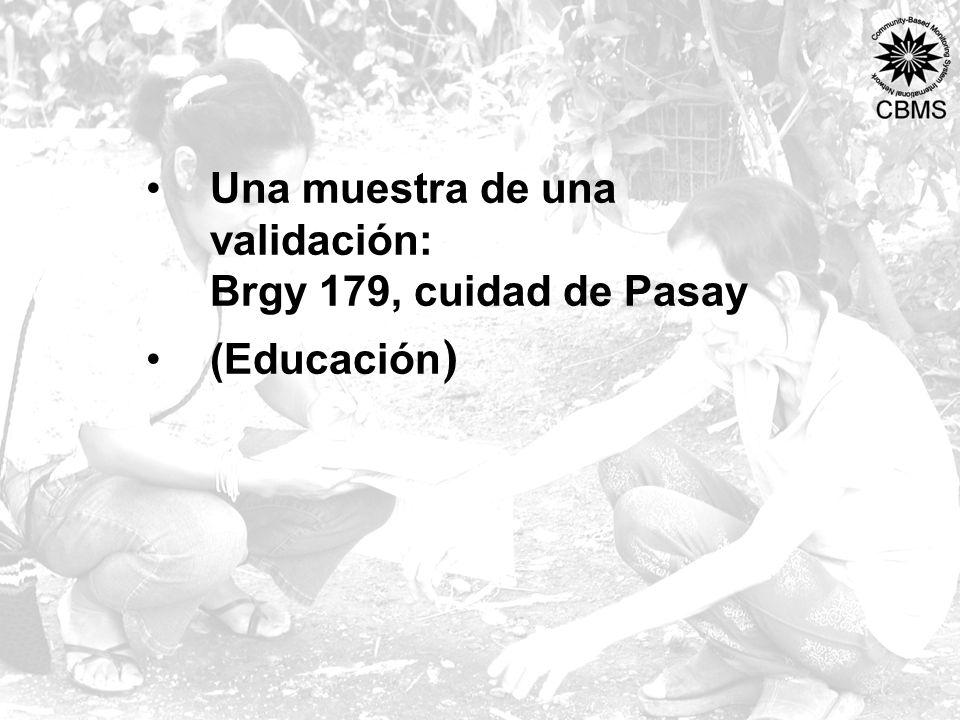 Una muestra de una validación: Brgy 179, cuidad de Pasay (Educación )