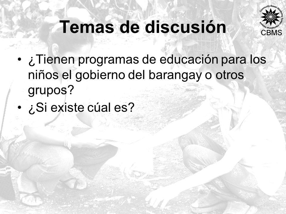 Temas de discusión ¿Tienen programas de educación para los niños el gobierno del barangay o otros grupos.