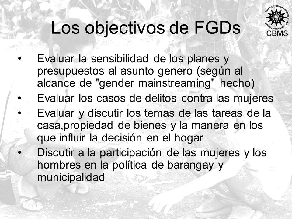 Los objectivos de FGDs Evaluar la sensibilidad de los planes y presupuestos al asunto genero (según al alcance de