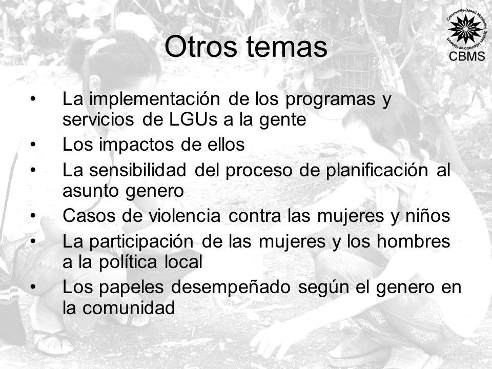 Otros temas La implementación de los programas y servicios de LGUs a la gente Los impactos de ellos La sensibilidad del proceso de planificación al as