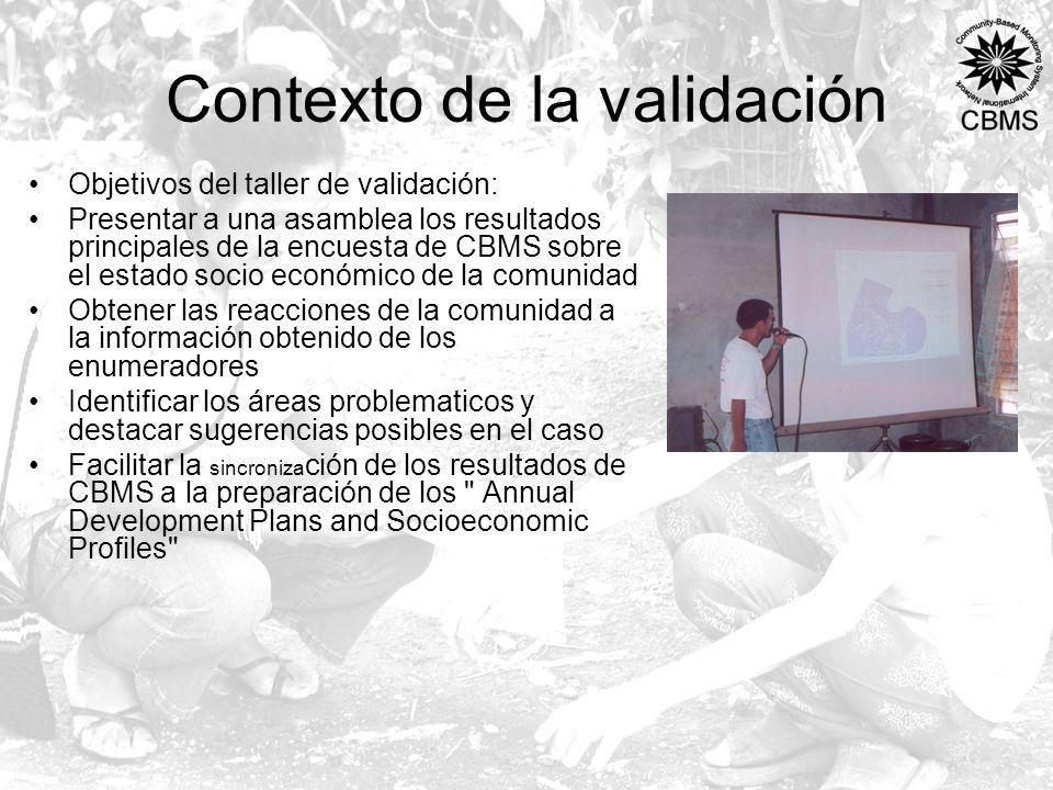 Contexto de la validación Objetivos del taller de validación: Presentar a una asamblea los resultados principales de la encuesta de CBMS sobre el esta