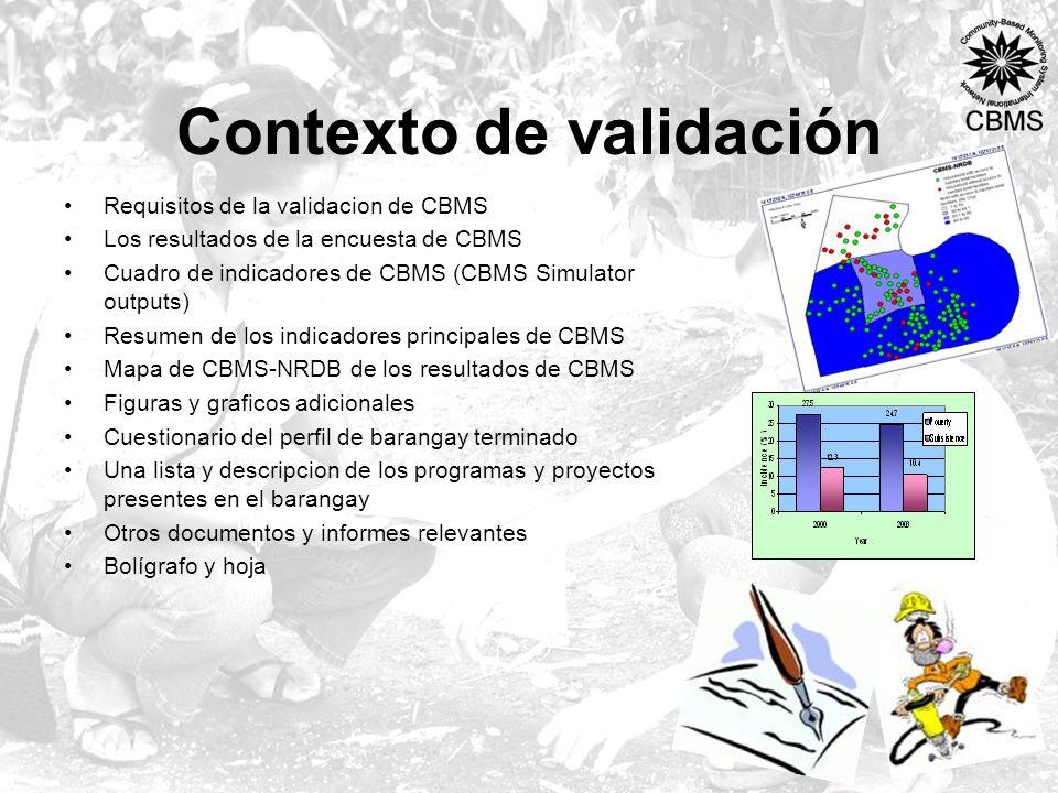 Contexto de validación Requisitos de la validacion de CBMS Los resultados de la encuesta de CBMS Cuadro de indicadores de CBMS (CBMS Simulator outputs) Resumen de los indicadores principales de CBMS Mapa de CBMS-NRDB de los resultados de CBMS Figuras y graficos adicionales Cuestionario del perfil de barangay terminado Una lista y descripcion de los programas y proyectos presentes en el barangay Otros documentos y informes relevantes Bolígrafo y hoja