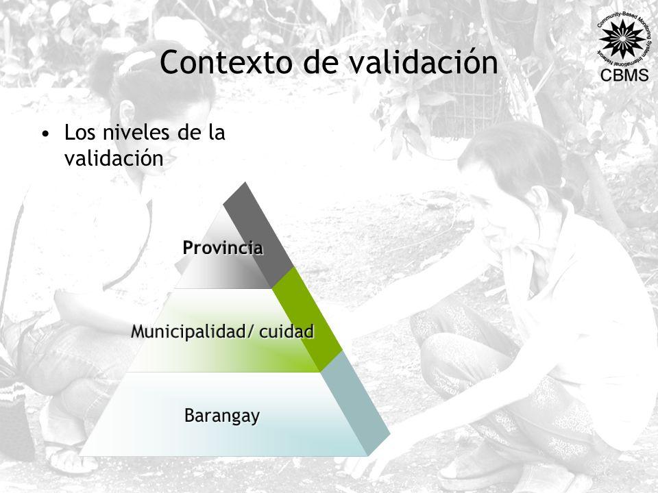 Contexto de validación Los niveles de la validaciónProvincia Municipalidad/ cuidad Barangay
