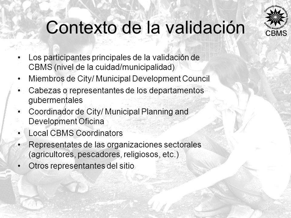 Contexto de la validación Los participantes principales de la validación de CBMS (nivel de la cuidad/municipalidad) Miembros de City/ Municipal Develo