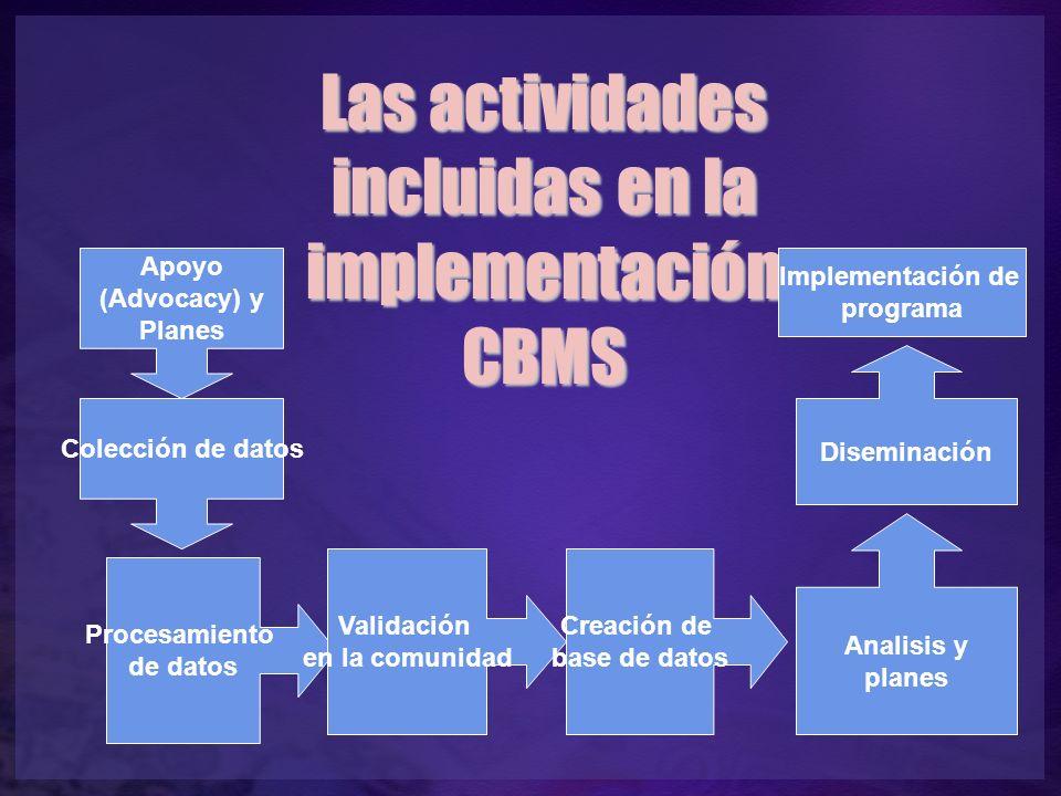 Apoyo (Advocacy) y Planes Colección de datos Procesamiento de datos Validación en la comunidad Creación de base de datos Las actividades incluidas en la implementación CBMS Analisis y planes Diseminación Implementación de programa