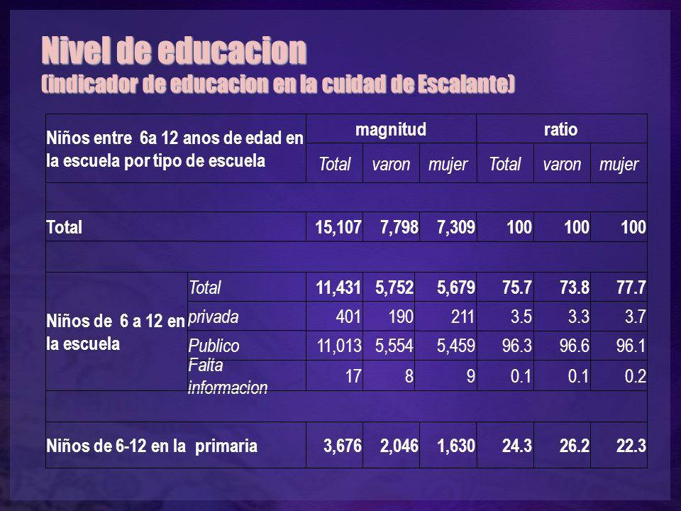 Nivel de educacion (indicador de educacion en la cuidad de Escalante) Niños entre 6a 12 anos de edad en la escuela por tipo de escuela magnitudratio TotalvaronmujerTotalvaronmujer Total15,1077,7987,309100 Niños de 6 a 12 en la escuela Total 11,4315,7525,67975.773.877.7 privada 4011902113.53.33.7 Publico 11,0135,5545,45996.396.696.1 Falta informacion 17890.1 0.2 Niños de 6-12 en la primaria3,6762,0461,63024.326.222.3