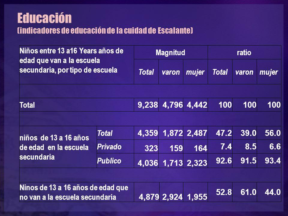 Educación (indicadores de educación de la cuidad de Escalante) Niños entre 13 a16 Years años de edad que van a la escuela secundaria, por tipo de escuela Magnitudratio TotalvaronmujerTotalvaronmujer Total 9,2384,7964,442100 niños de 13 a 16 años de edad en la escuela secundaria Total 4,3591,8722,48747.239.056.0 Privado 323159164 7.48.56.6 Publico 4,0361,7132,323 92.691.593.4 Ninos de 13 a 16 años de edad que no van a la escuela secundaria 4,8792,9241,955 52.861.044.0