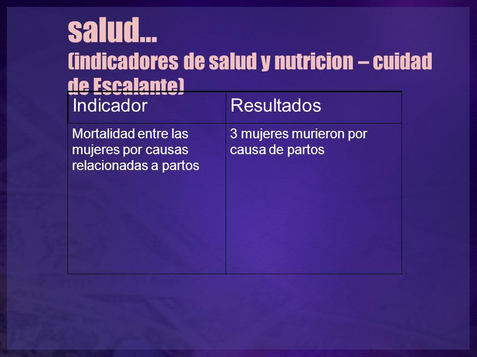 salud… (indicadores de salud y nutricion – cuidad de Escalante) IndicadorResultados Mortalidad entre las mujeres por causas relacionadas a partos 3 mujeres murieron por causa de partos