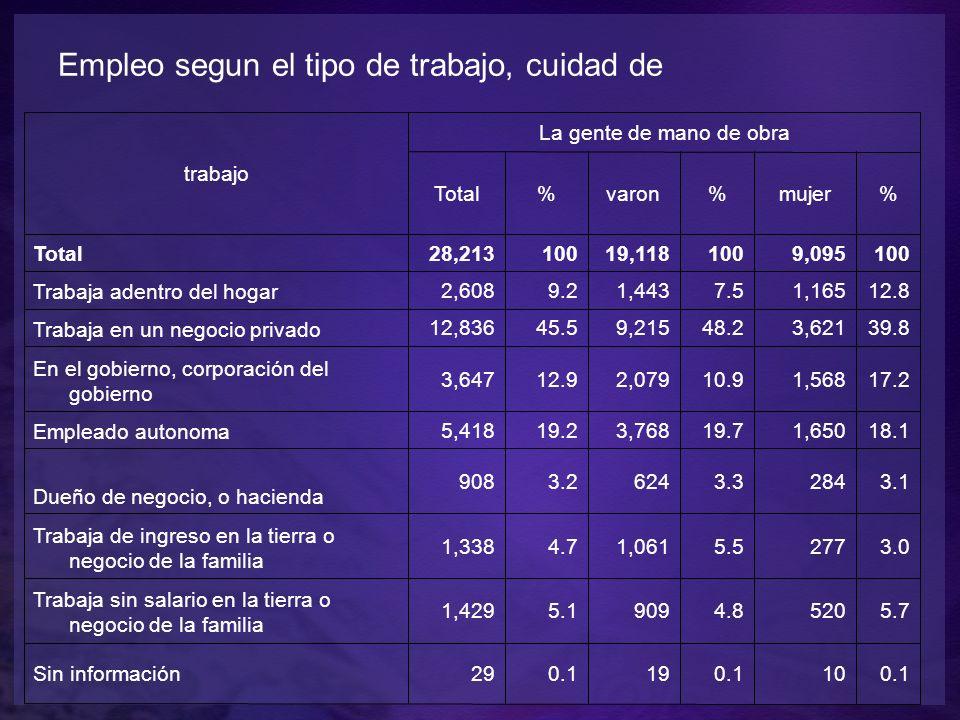 trabajo La gente de mano de obra Total%varon%mujer% Total28,21310019,1181009,095100 Trabaja adentro del hogar 2,6089.21,4437.51,16512.8 Trabaja en un negocio privado 12,83645.59,21548.23,62139.8 En el gobierno, corporación del gobierno 3,64712.92,07910.91,56817.2 Empleado autonoma 5,41819.23,76819.71,65018.1 Dueño de negocio, o hacienda 9083.26243.32843.1 Trabaja de ingreso en la tierra o negocio de la familia 1,3384.71,0615.52773.0 Trabaja sin salario en la tierra o negocio de la familia 1,4295.19094.85205.7 Sin información290.1190.1100.1 Empleo segun el tipo de trabajo, cuidad de