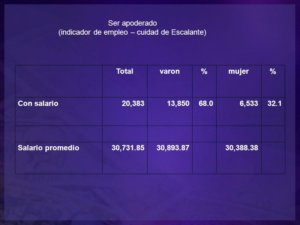 Ser apoderado (indicador de empleo – cuidad de Escalante) Totalvaron%mujer% Con salario20,38313,85068.06,53332.1 Salario promedio30,731.8530,893.87 30,388.38