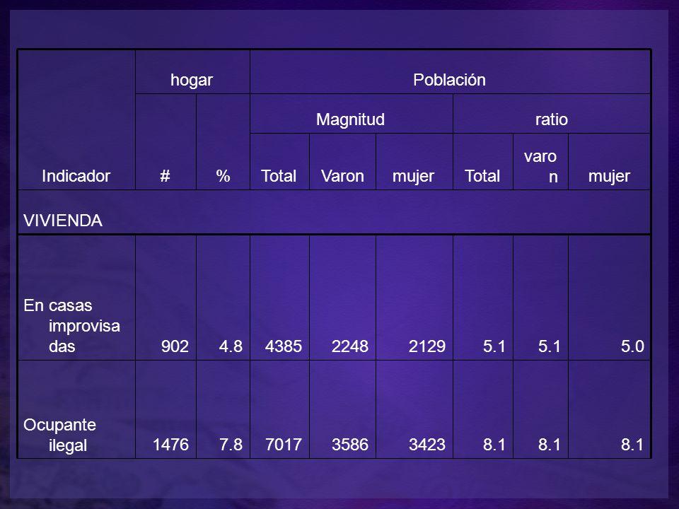 Indicador hogarPoblación #% Magnitudratio TotalVaronmujerTotal varo nmujer VIVIENDA En casas improvisa das9024.84385224821295.1 5.0 Ocupante ilegal14767.87017358634238.1