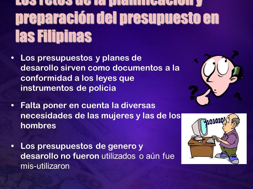 Respuestos del LGU Recoja el presupesto de GAD budget como el primer paso a atender a las necesidades y problemas de mujeres.