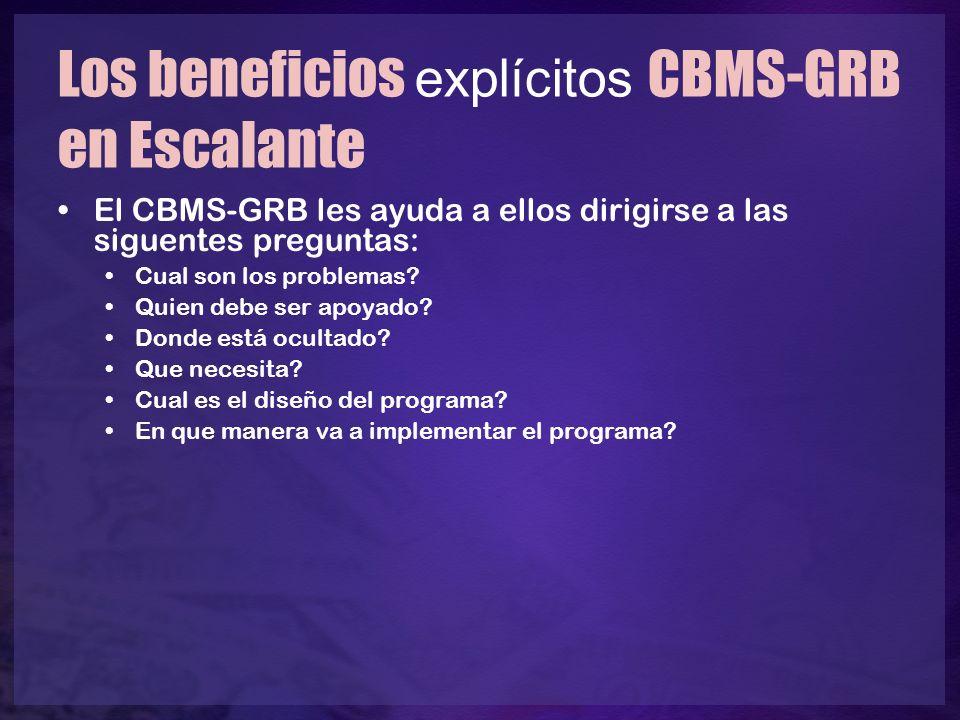 Los beneficios explícitos CBMS-GRB en Escalante El CBMS-GRB les ayuda a ellos dirigirse a las siguentes preguntas: Cual son los problemas? Quien debe