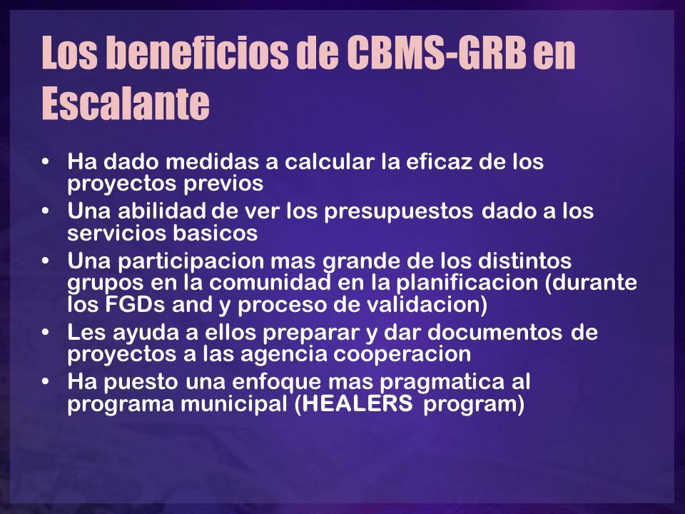 Los beneficios de CBMS-GRB en Escalante Ha dado medidas a calcular la eficaz de los proyectos previos Una abilidad de ver los presupuestos dado a los