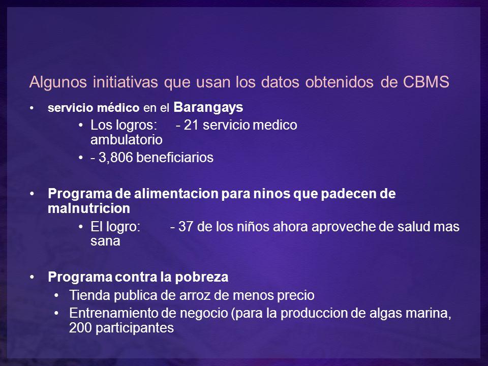 Algunos initiativas que usan los datos obtenidos de CBMS servicio médico en el Barangays Los logros: - 21 servicio medico ambulatorio - 3,806 benefici