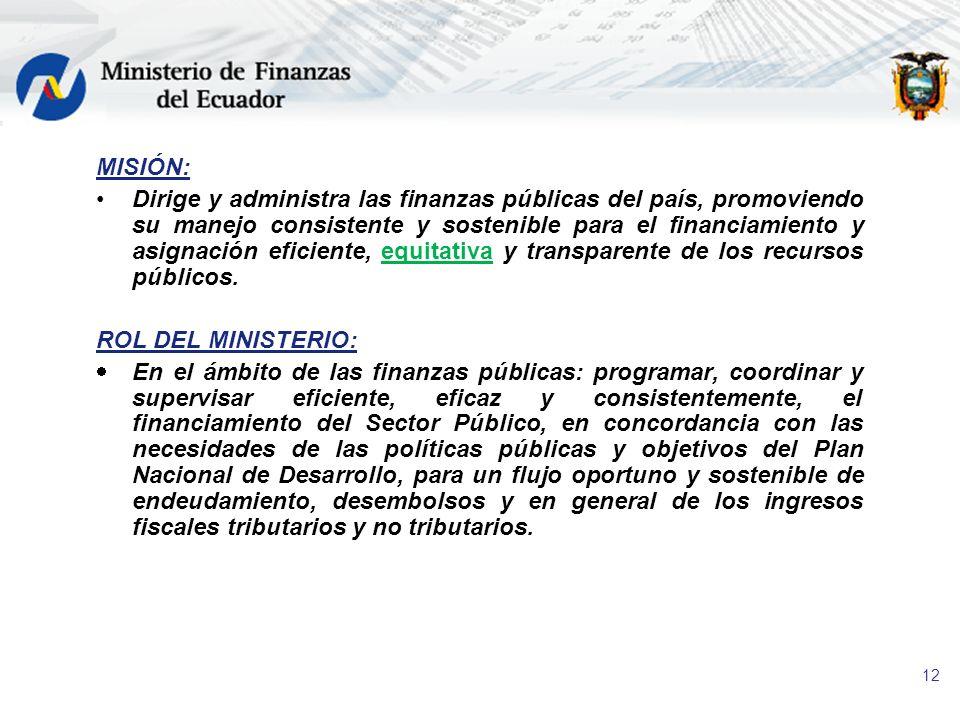 12 MISIÓN: Dirige y administra las finanzas públicas del país, promoviendo su manejo consistente y sostenible para el financiamiento y asignación efic