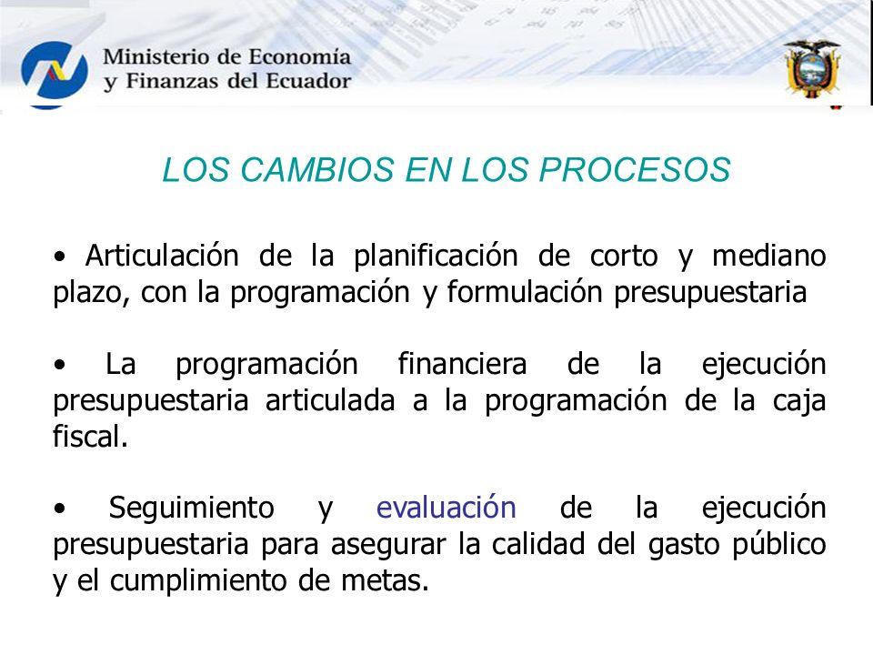LOS CAMBIOS EN LOS PROCESOS Articulación de la planificación de corto y mediano plazo, con la programación y formulación presupuestaria La programació