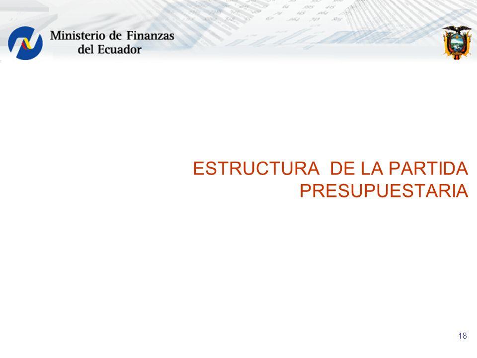 18 ESTRUCTURA DE LA PARTIDA PRESUPUESTARIA
