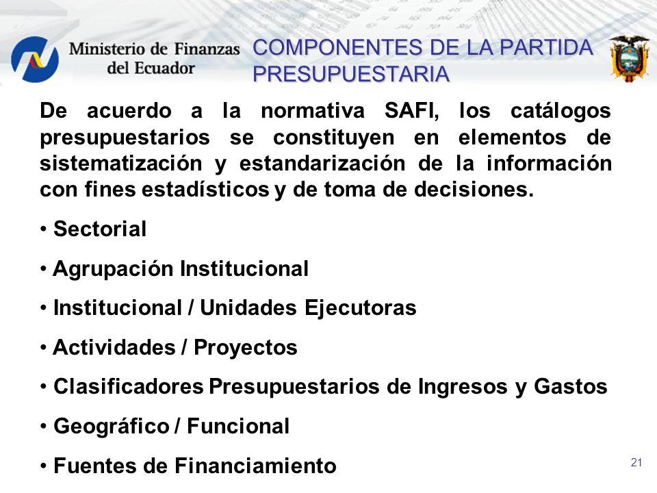 21 COMPONENTES DE LA PARTIDA PRESUPUESTARIA De acuerdo a la normativa SAFI, los catálogos presupuestarios se constituyen en elementos de sistematizaci