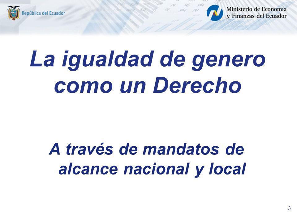 3 La igualdad de genero como un Derecho A través de mandatos de alcance nacional y local