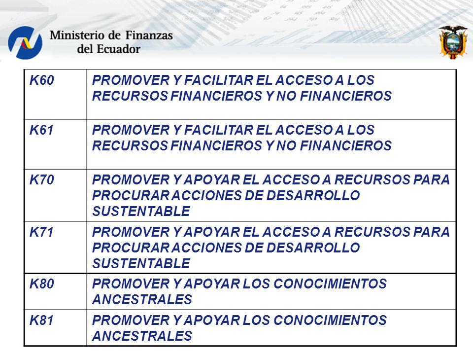 K60PROMOVER Y FACILITAR EL ACCESO A LOS RECURSOS FINANCIEROS Y NO FINANCIEROS K61PROMOVER Y FACILITAR EL ACCESO A LOS RECURSOS FINANCIEROS Y NO FINANC