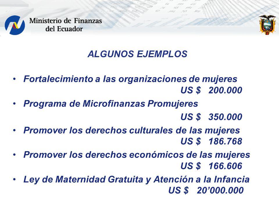 ALGUNOS EJEMPLOS Fortalecimiento a las organizaciones de mujeres US $200.000 Programa de Microfinanzas Promujeres US $350.000 Promover los derechos cu