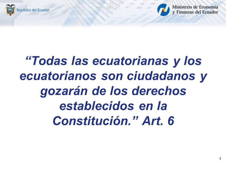 4 Todas las ecuatorianas y los ecuatorianos son ciudadanos y gozarán de los derechos establecidos en la Constitución. Art. 6