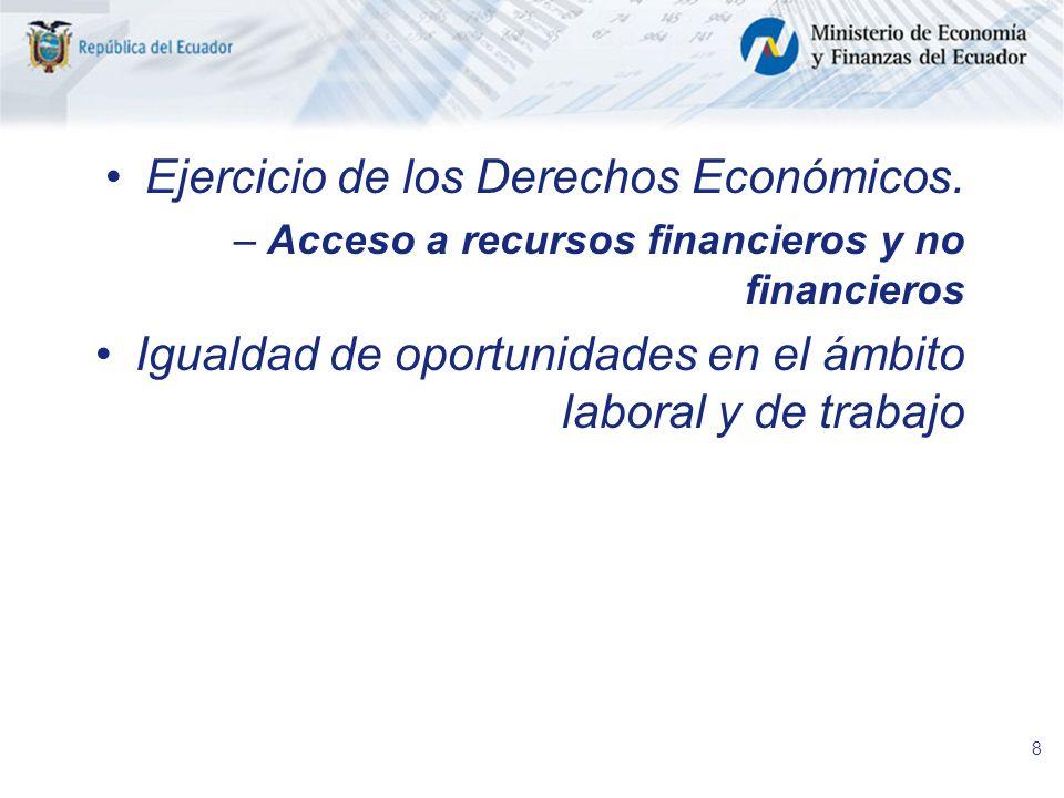 8 Ejercicio de los Derechos Económicos. –Acceso a recursos financieros y no financieros Igualdad de oportunidades en el ámbito laboral y de trabajo