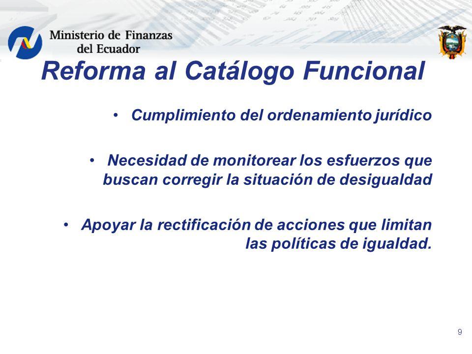 9 Reforma al Catálogo Funcional Cumplimiento del ordenamiento jurídico Necesidad de monitorear los esfuerzos que buscan corregir la situación de desig