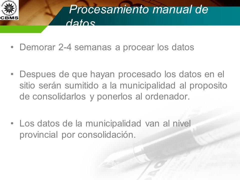 Demorar 2-4 semanas a procear los datos Despues de que hayan procesado los datos en el sitio serán sumitido a la municipalidad al proposito de consoli