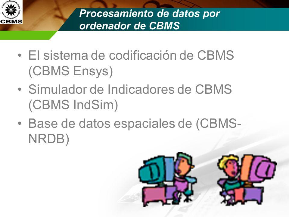 Procesamiento de datos por ordenador de CBMS El sistema de codificación de CBMS (CBMS Ensys) Simulador de Indicadores de CBMS (CBMS IndSim) Base de da