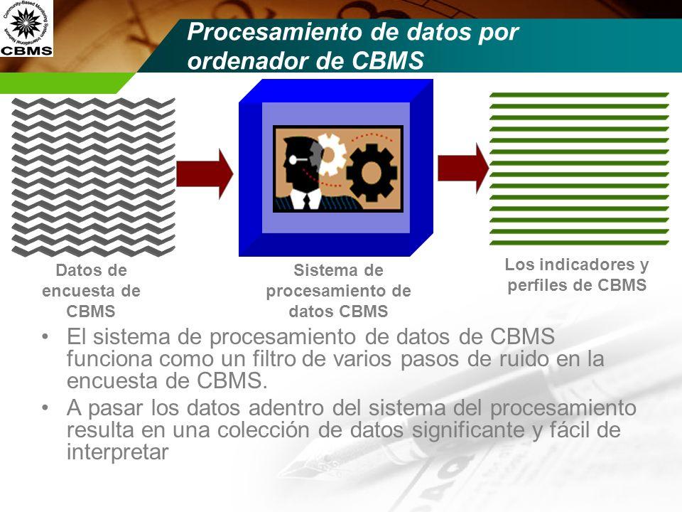 Sistema de procesamiento de datos CBMS Procesamiento de datos por ordenador de CBMS El sistema de procesamiento de datos de CBMS funciona como un filt