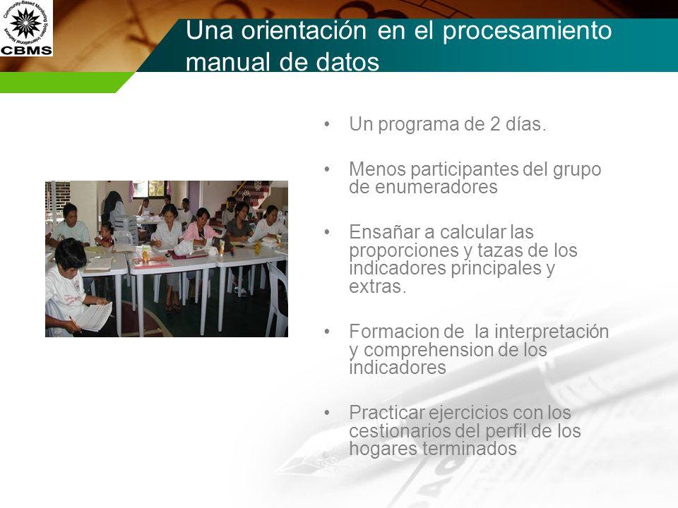 Una orientación en el procesamiento manual de datos Un programa de 2 días. Menos participantes del grupo de enumeradores Ensañar a calcular las propor