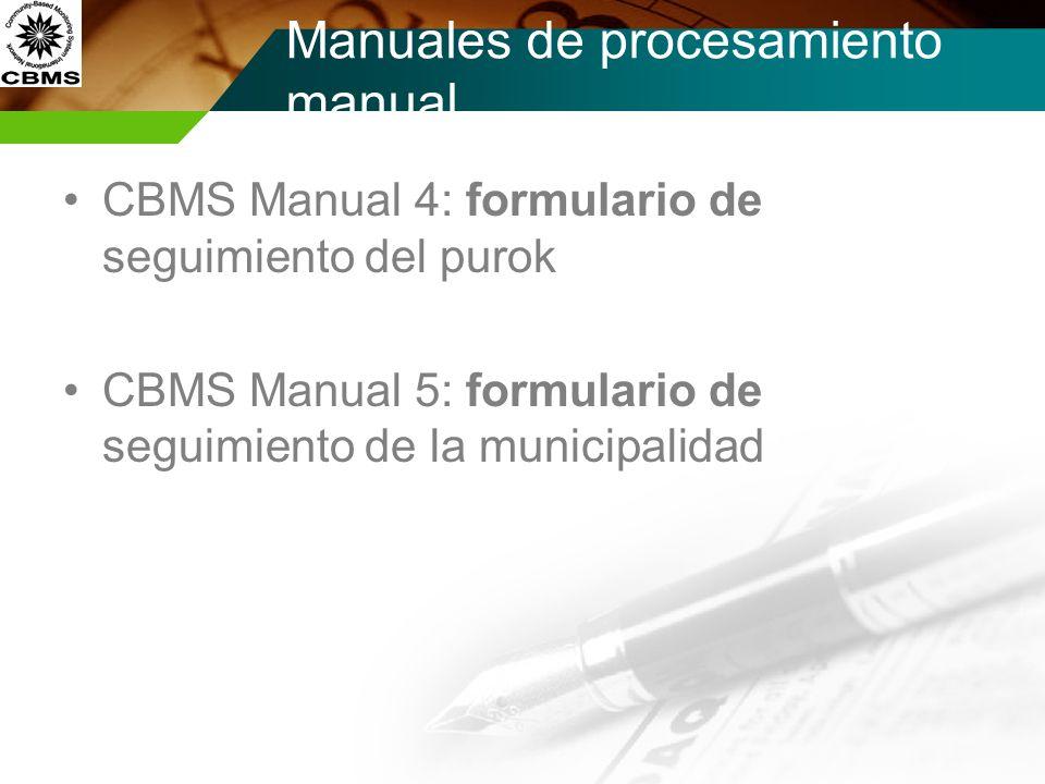 Hojas de Procesamiento manual CBMS Hoja 4: marcador de datos (nivel de purok) CBMS Hoja 5: formulario de seguimiento (nivel de barangay) CBMS Hoja 6: marcador de datos (nivel de barangay) CBMS Hoja 7: formulario de seguimiento de la municipalidad CBMS Hoja 8 formulario de seguimiento de la municipalidad