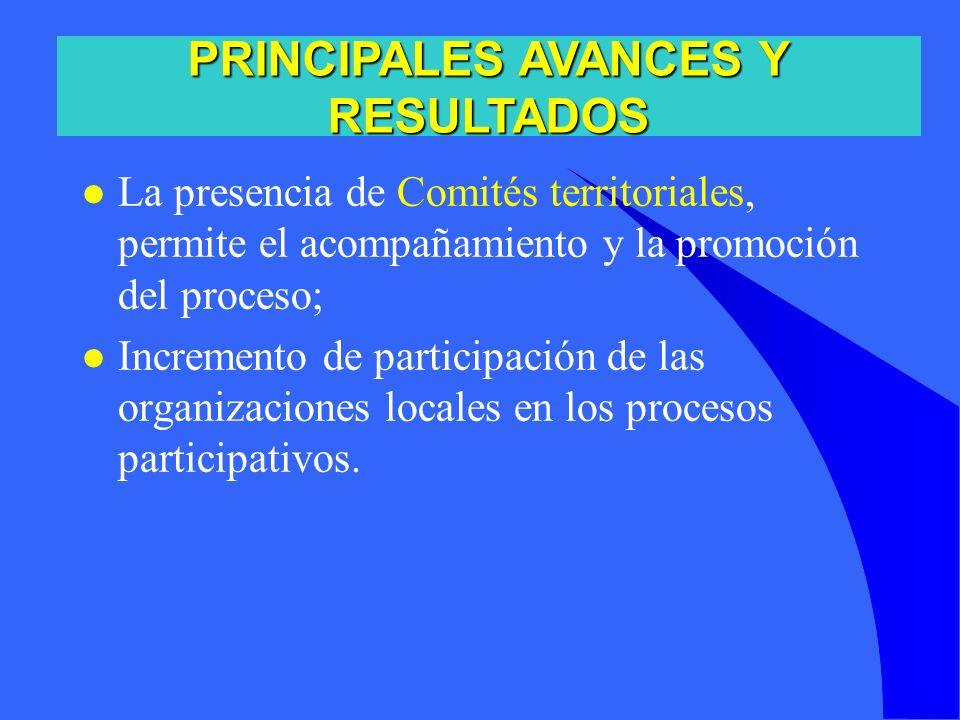 l La presencia de Comités territoriales, permite el acompañamiento y la promoción del proceso; l Incremento de participación de las organizaciones loc
