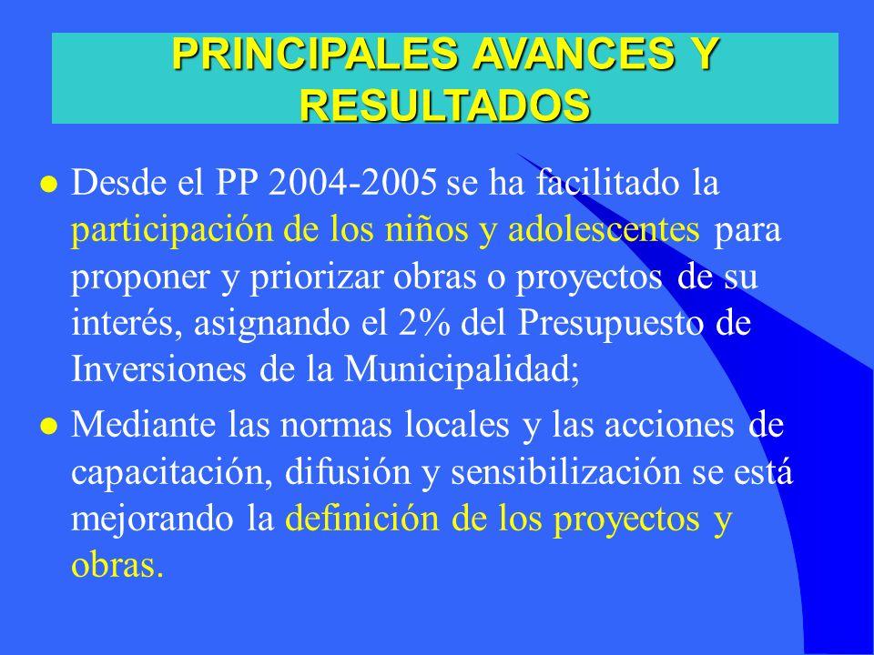 l Desde el PP 2004-2005 se ha facilitado la participación de los niños y adolescentes para proponer y priorizar obras o proyectos de su interés, asign