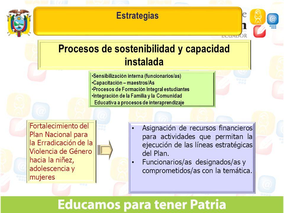 Estrategias Procesos de sostenibilidad y capacidad instalada Fortalecimiento del Plan Nacional para la Erradicación de la Violencia de Género hacia la niñez, adolescencia y mujeres Asignación de recursos financieros para actividades que permitan la ejecución de las líneas estratégicas del Plan.
