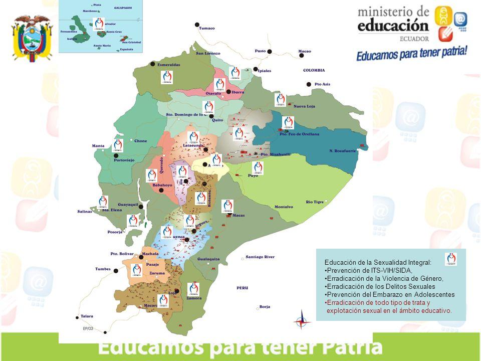 Educación de la Sexualidad Integral: Prevención de ITS-VIH/SIDA, Erradicación de la Violencia de Género, Erradicación de los Delitos Sexuales Prevención del Embarazo en Adolescentes Erradicación de todo tipo de trata y explotación sexual en el ámbito educativo.