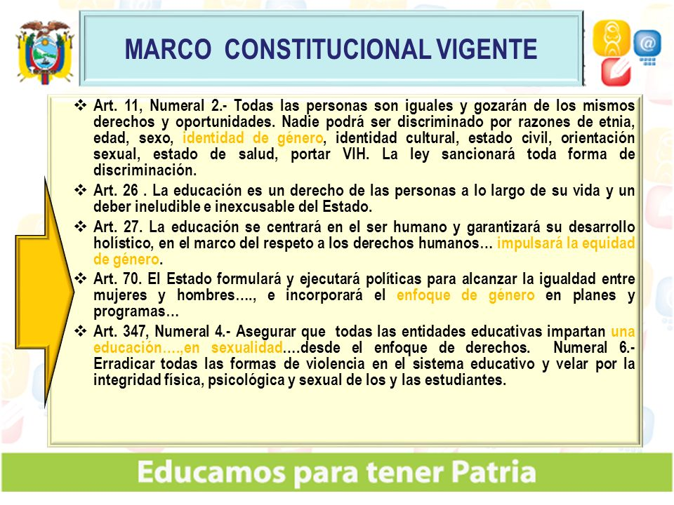Art. 11, Numeral 2.- Todas las personas son iguales y gozarán de los mismos derechos y oportunidades. Nadie podrá ser discriminado por razones de etni
