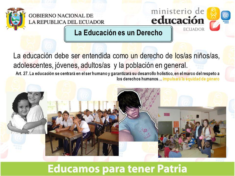 La educación debe ser entendida como un derecho de los/as niños/as, adolescentes, jóvenes, adultos/as y la población en general.