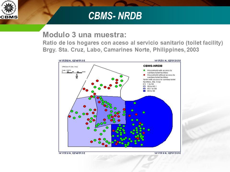 CBMS- NRDB Modulo 3 una muestra: Ratio de los hogares con aceso al servicio sanitario (toilet facility) Brgy. Sta. Cruz, Labo, Camarines Norte, Philip