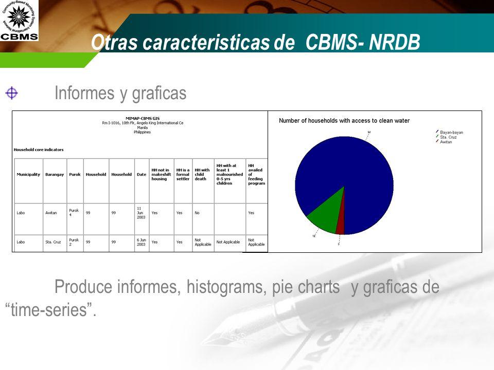 Informes y graficas Produce informes, histograms, pie charts y graficas de time-series.