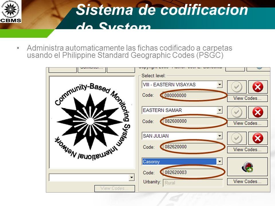 Sistema de codificacion de System Administra automaticamente las fichas codificado a carpetas usando el Philippine Standard Geographic Codes (PSGC)