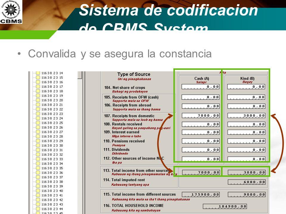Sistema de codificacion de CBMS System Convalida y se asegura la constancia