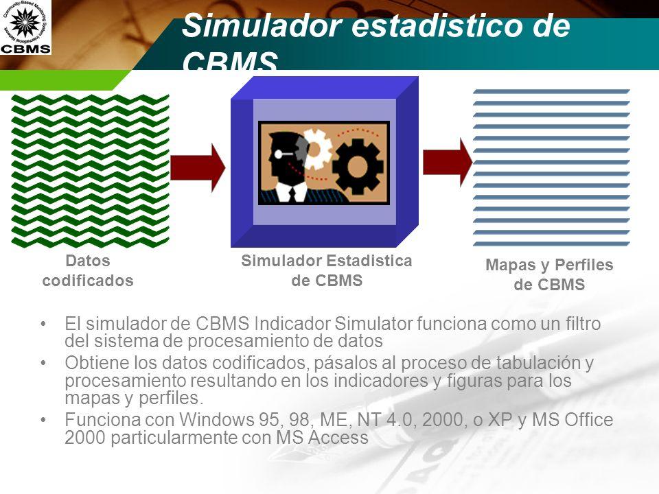 Simulador Estadistica de CBMS Simulador estadistico de CBMS El simulador de CBMS Indicador Simulator funciona como un filtro del sistema de procesamie
