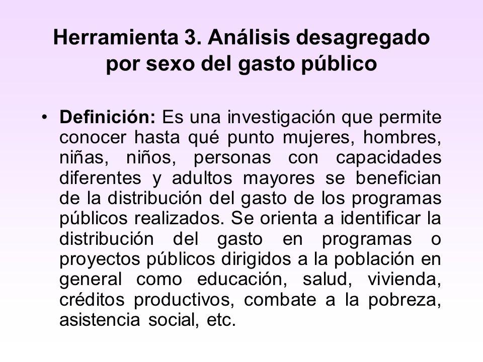 Herramienta 3. Análisis desagregado por sexo del gasto público Definición: Es una investigación que permite conocer hasta qué punto mujeres, hombres,