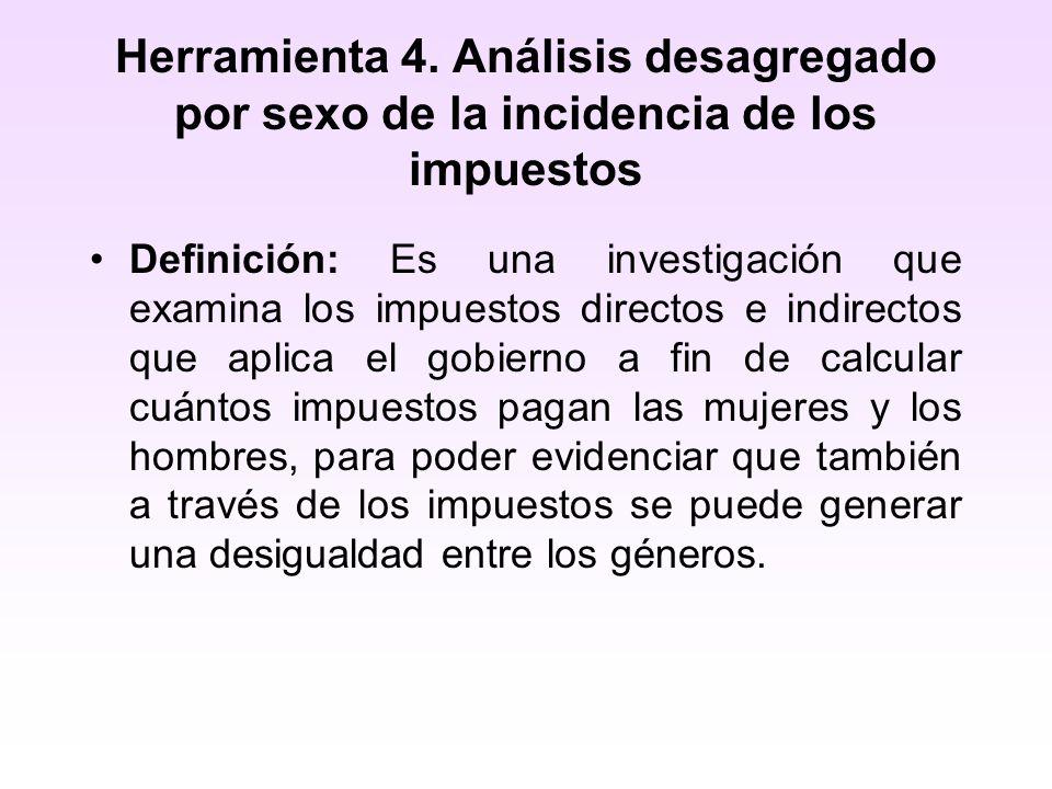 Herramienta 4. Análisis desagregado por sexo de la incidencia de los impuestos Definición: Es una investigación que examina los impuestos directos e i